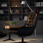 Blackbird Arrangement Armchair Footstool Aniline Black 3