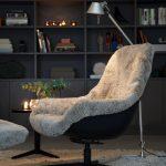 Blackbird Arrangement Armchair Footstool Aniline Black Sheepskin Green Tea 4