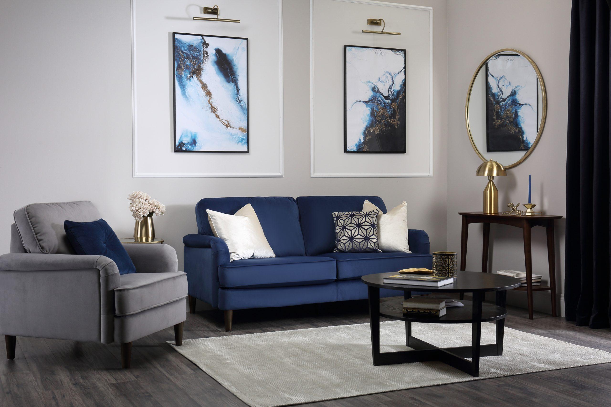 Fc Pembroke Blue Velvet 3 Seater Sofa Www.furniturechoice.co.uk