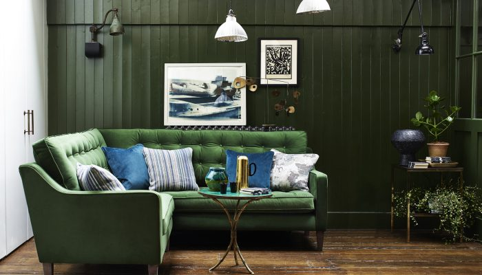 Pair Green With Darker, Traditional Furniture Soho Green Velvet Corner No Pole