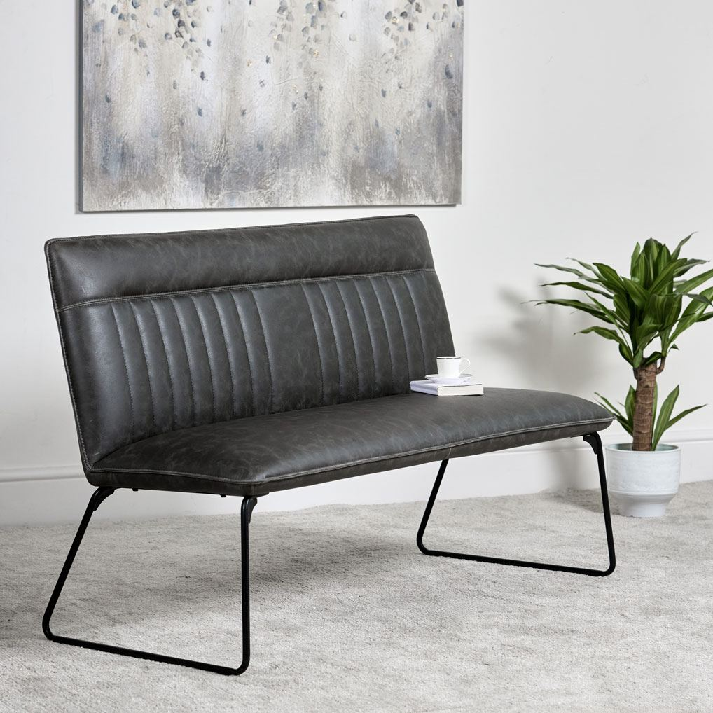 Grey-faux-leather-bench